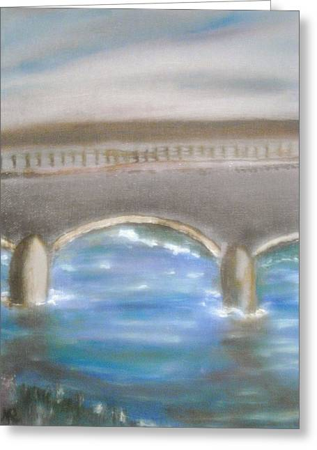 Pavia Covered Bridge - En Plein Air Painting Greeting Card by Nicla Rossini