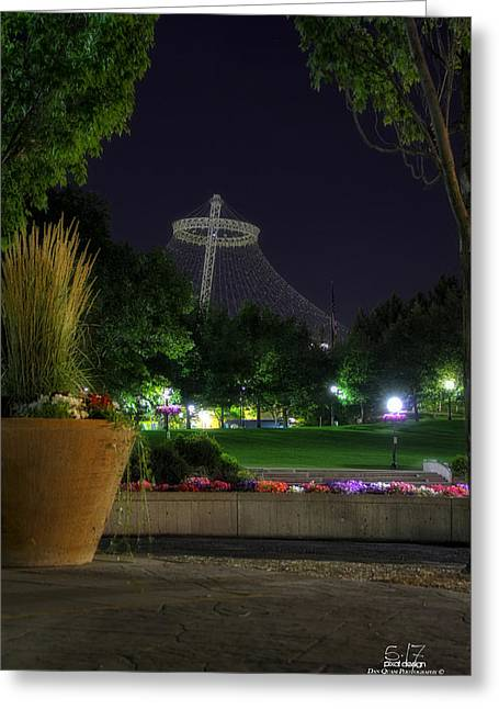 Pavillion At Night Greeting Card by Dan Quam