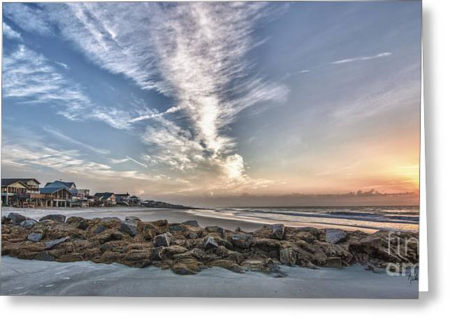 Pawleys Island Beach Sunrise Greeting Card by Mike Covington