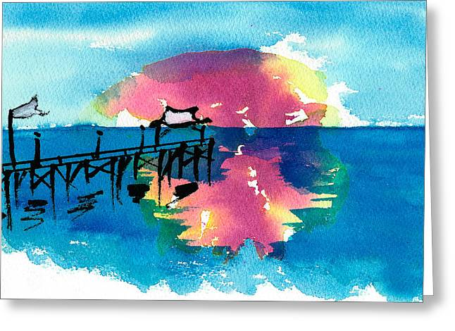 Greeting Card featuring the painting Pawleys Island Sunrise Watercolor by Frank Bright