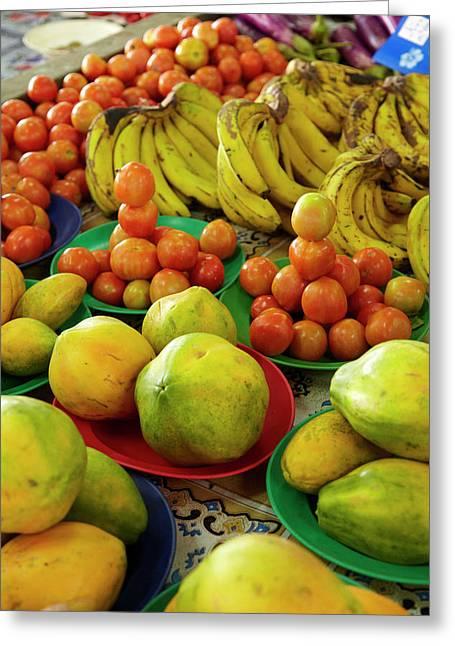 Pawpaw/papaya, Tomatoes And Bananas Greeting Card