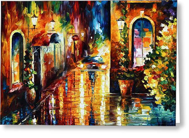 Paying A Visit New Greeting Card by Leonid Afremov