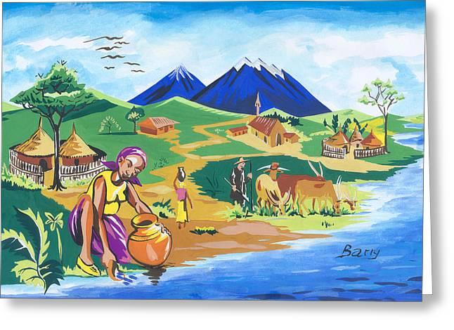 Paysage Du Nord Du Rwanda Greeting Card by Emmanuel Baliyanga