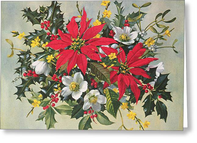 Christmas Flowers Greeting Card by Albert Williams
