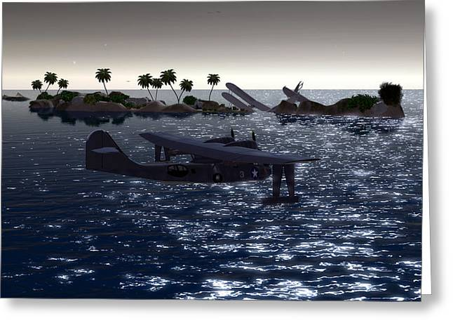 Pby In The Water Greeting Card by Mark Weller