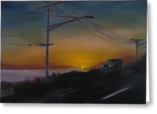 Pch At Night Greeting Card by Lindsay Frost