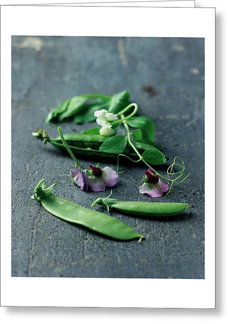 Pea Pods And Flowers Greeting Card