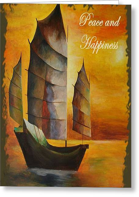 Peace And Happiness Christmas Greetings Greeting Card by Tracey Harrington-Simpson
