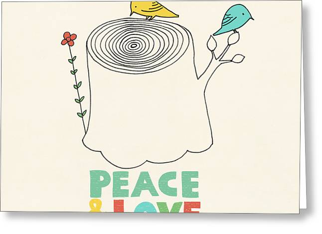 Peace And Love Greeting Card by Eric Fan
