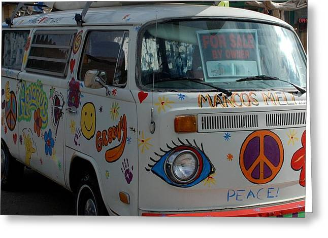 Greeting Card featuring the photograph Peace And Love Van by Dany Lison