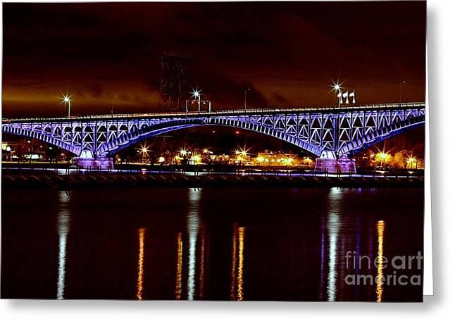 Peace Bridge At Night Greeting Card by Daniel J Ruggiero