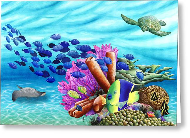 Peace Coral Greeting Card by Carolyn Steele