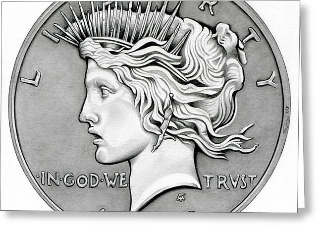 Graphite Peace Dollar Greeting Card