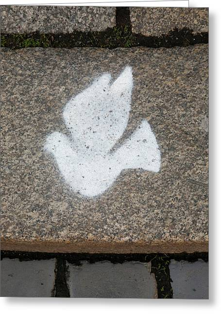 Peace Dove Symbol In Cobblestone Greeting Card by Dave Bartruff