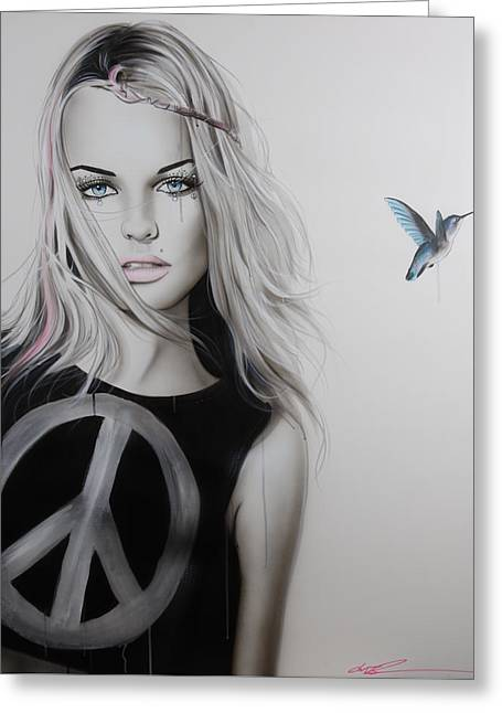 Portrait - ' Peace Love And Psychadelia ' Greeting Card by Christian Chapman Art