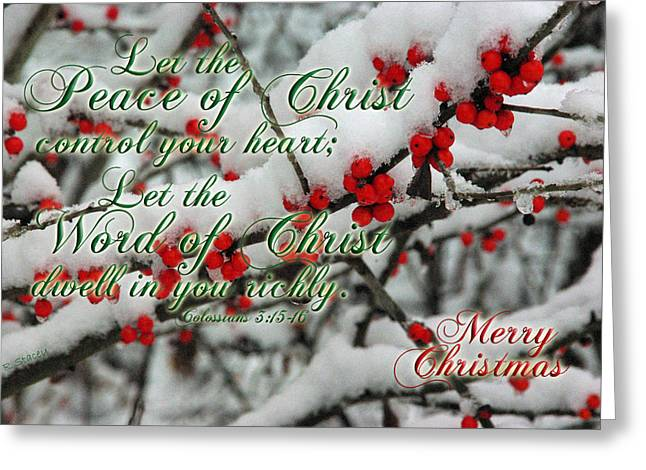 Peace Of Christ Holly Greeting Card by Robyn Stacey