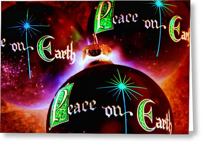 Greeting Card featuring the photograph Antique Peace On Earth Christmas Ornaments by Vizual Studio