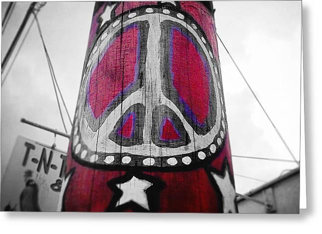 Peace Pole Greeting Card by Scott Pellegrin