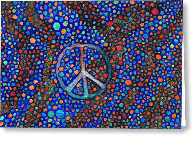 Greeting Card featuring the painting Peace Sign by Janice Dunbar
