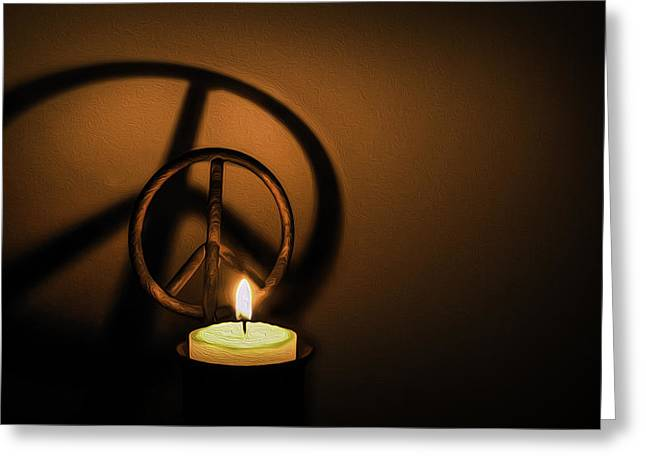 Peace Symbol Candle  Greeting Card by Phil Cardamone