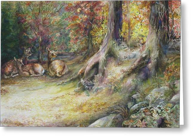 Greeting Card featuring the painting Peaceful Autumn Afternoon by Bonnie Goedecke