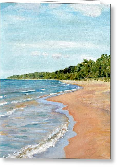 Peaceful Beach At Pier Cove Greeting Card by Michelle Calkins