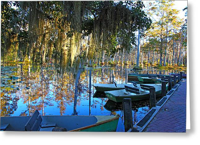 Peaceful Boat Landing By Jan Marvin Greeting Card