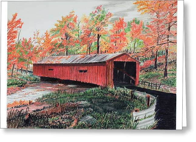 Peaceful Bridge In Autumn Greeting Card by Frank Evans