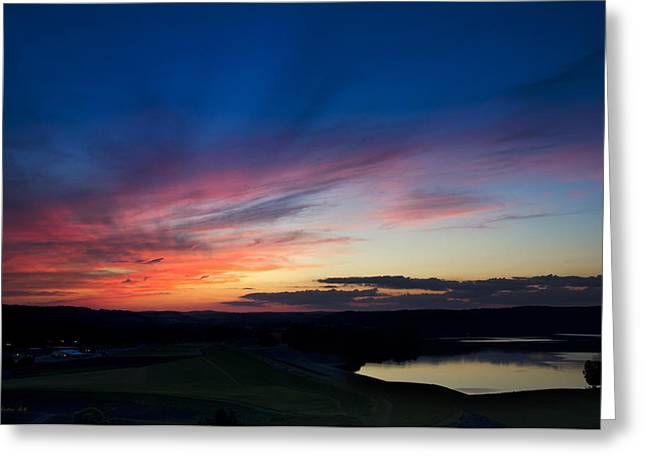 Peaceful Ending Sunset Greeting Card by Christina Rollo