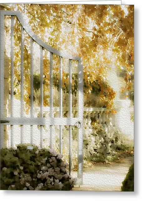 Peaceful English Garden Greeting Card by Julie Palencia