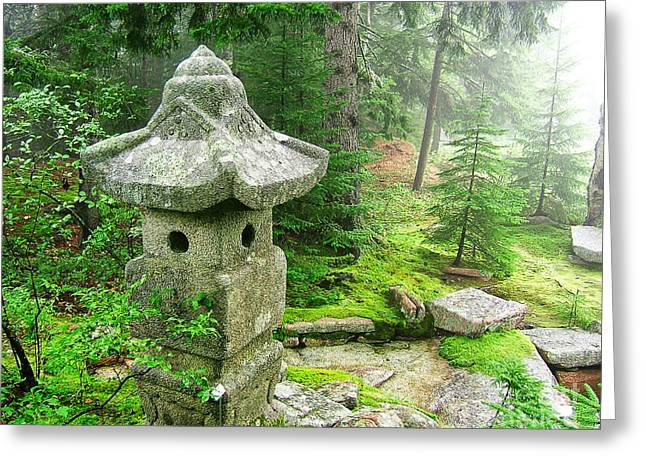 Peaceful Japanese Garden On Mount Desert Island Greeting Card by Edward Fielding