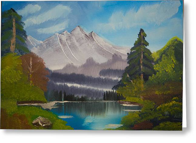 Peaceful Lake With Snow Mountain--original Landscape Oil Painting Greeting Card by Laura SONG