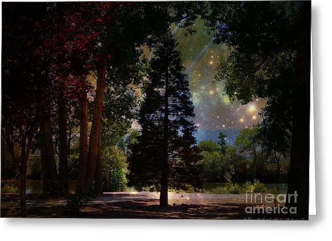 Magical Night At The River Greeting Card by Bobbee Rickard