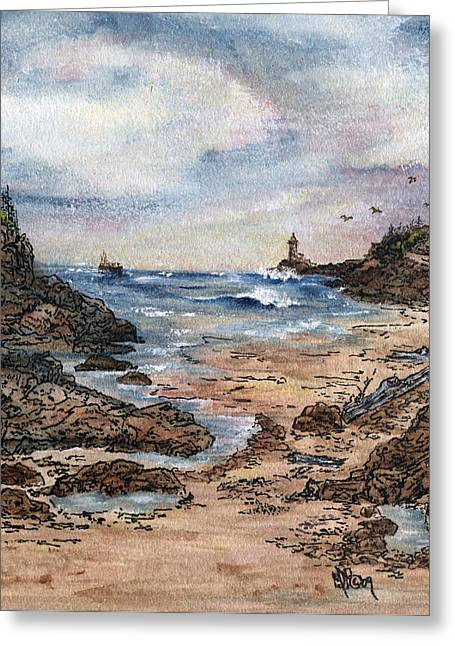 Peaceful Ocean Greeting Card by Meldra Driscoll