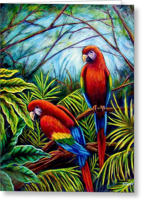Peaceful Parrots Greeting Card by Sebastian Pierre