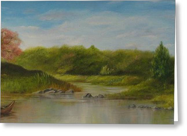 Greeting Card featuring the painting Peaceful Place by Anna-Maria Dickinson