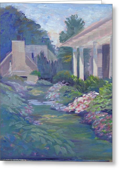 Peaceful Portico Greeting Card by Judy Fischer Walton