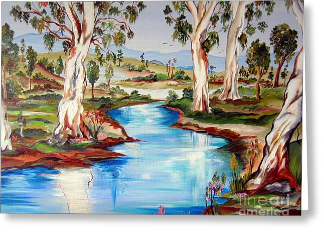 Peaceful River In The Australian Outback Greeting Card by Roberto Gagliardi