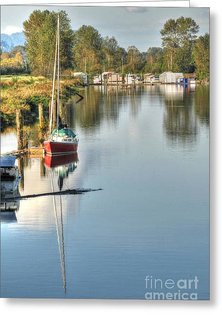 Peaceful River View Greeting Card by Malu Couttolenc
