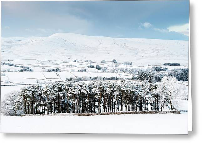 Peaceful Snow Scene In The Howgills Greeting Card by Wayne Hutchinson
