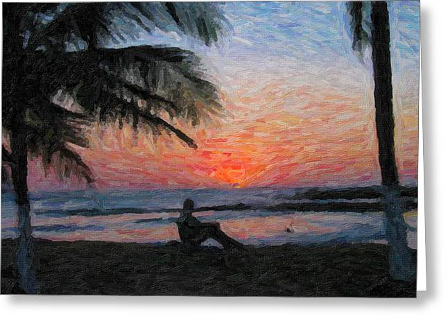 Peaceful Sunset Greeting Card by David Gleeson