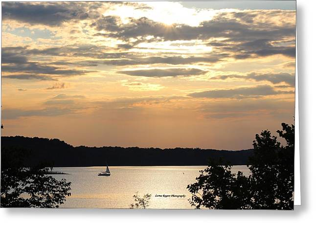 Greeting Card featuring the digital art Peaceful Sunset by Lorna Rogers Photography