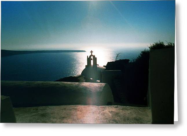 Greeting Card featuring the photograph Peaceful Sunset Santorini Island Greece by Colette V Hera  Guggenheim