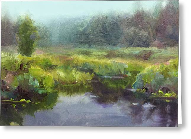 Peaceful Waters Impressionistic Landscape  Greeting Card