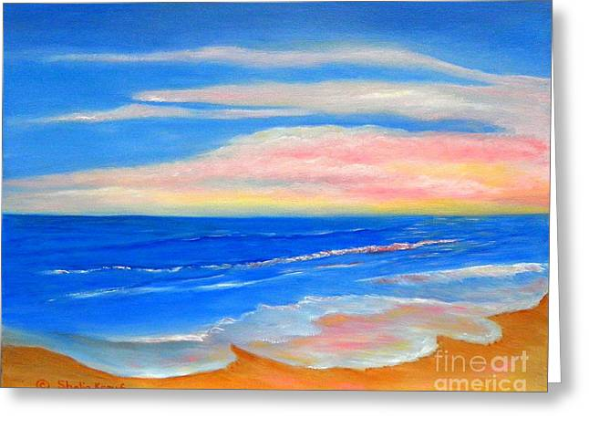 Greeting Card featuring the painting Peacefully Pink - Pink Seascapes by Shelia Kempf