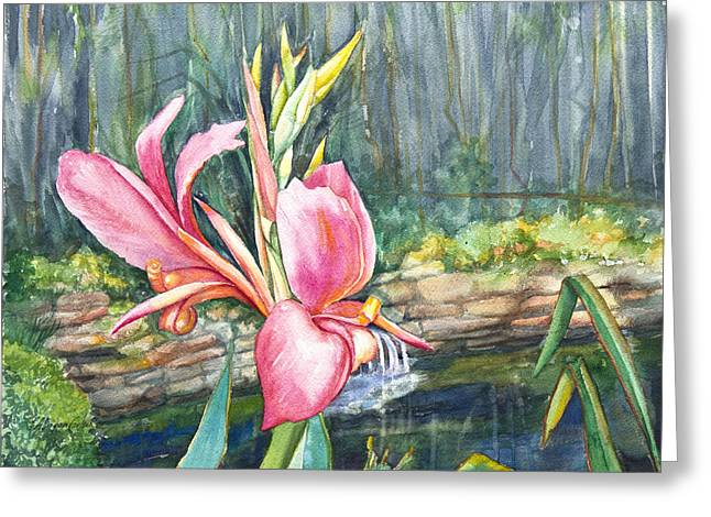 Peach Canna By The Pond Greeting Card