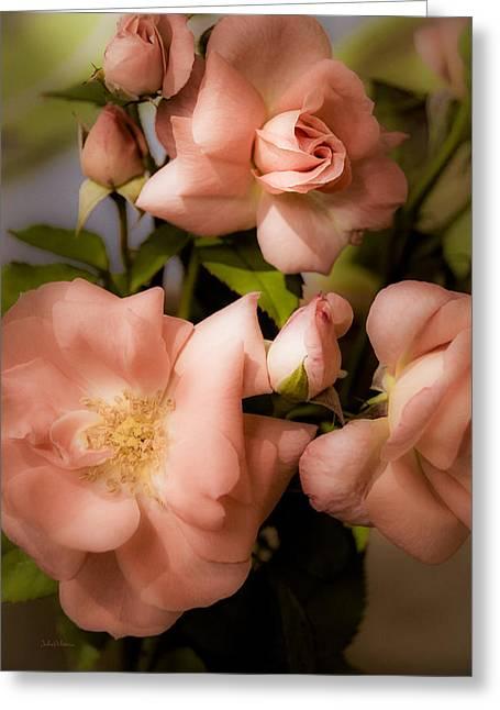 Peach Floribunda Roses Greeting Card by Julie Palencia