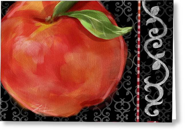 Peach On Black And White Greeting Card by Shari Warren