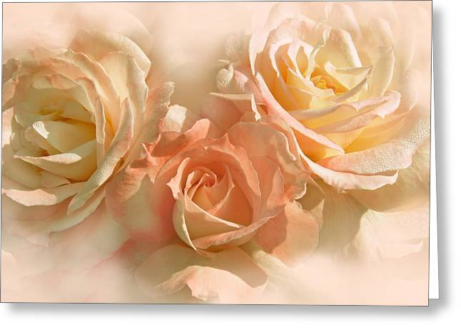 Peach Roses In The Mist Greeting Card by Jennie Marie Schell