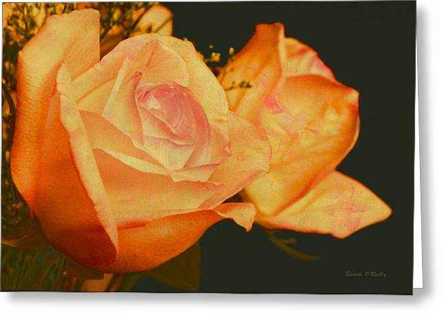 Peach Roses  Greeting Card by Sandi OReilly